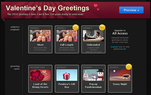 Animoto Valentine Day Greetings